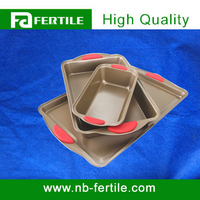 Carbon Steel Square Baking Pan With Silicone Handle 113503