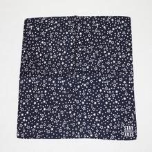 New custom logo design white star pattern square digital silk scarf printing