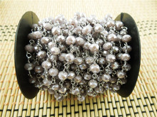 CH-JBN0042 rosary glass bead,4*6mm crystal glass bead rosary chain,fashion beaded chain jewelry