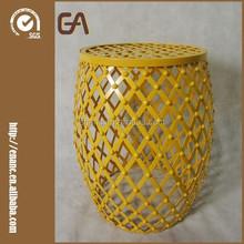 Yellow Hatched Diamond Pattern Accent Round Iron Stool