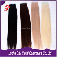 New Looking !!! Colorful Wholesale Large Virgin in Stock Straight Remy Tape Tip Hair Extension ,100% Virgin Human Tape Hair