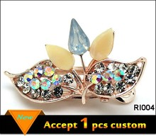 Fashion Leaf gold plating jewelry crystal hairpins for hair, handmade hairpins