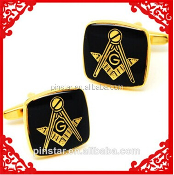 2014 New Custom me<em></em>tal Hotsale Freemason Maso<em></em>nic Imitation Enamel High Quality Gold Tone Cuffl<em></em>ink with Free Cuffl<em></em>ink Box
