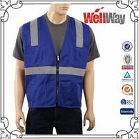 Wholesale cheap summer high visibility viz blue mesh 3M reflective tape safety custom vest