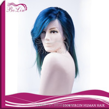 New Fashion Top Quality Beautiful 100 Human Hair Wig Ombre Wig Green Blue Wig