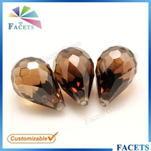 Facets Gems CZ Brown Precious Stone Faceted Teardrop Beads with Hole for Pendant