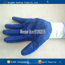 DANFENG QB217 Blue cheap work gloves nitrile gloves coated supplier