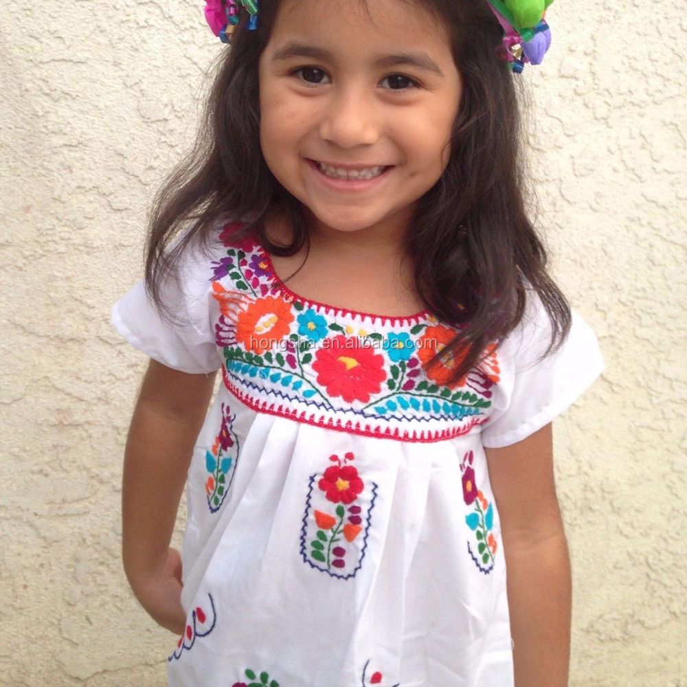 Vintage Mexican Embroidered Dress Latest Smoking Dress Designs For Flower Girls HSD1290-6.JPG