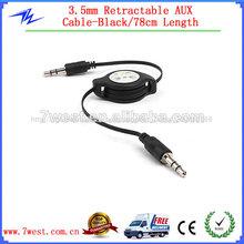 Nuevo 3.5mm de audio jack cable retráctil aux de audio por cable para ipod pc mp3 coche- 78cm longitud