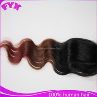 Aliexpress hair 5*5 ombre color BW high quality brazilian lace front closure