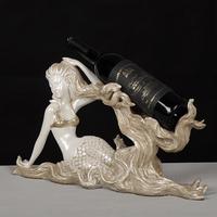 wholesale home decorative resin mermaid red wine rack holder