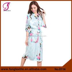 0114 Silk Dressing Gown Robe Long Satin Floral Kimono Gown