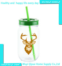 vacuum glass container, 16 OZ copper jar 450ml single wall plastic mason jar with straw, tube cup japan