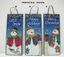 Let it Snow Christmas Sign Plaque Snowmen, Snowflakes