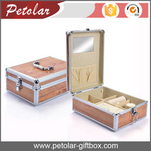 Wooden color top quality aluminum cosmetic gift box,aluminum gift box