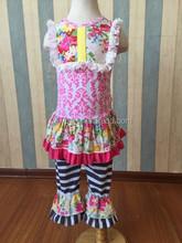 Hot Fashion Toddler Girls Cotton Pink Damask Floral Infants Kids Sleeveless Ruffle Tee Top Set 2 Pcs Late Summer Clothing Sets