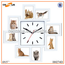 """8"""" plastic diy wall clock with photo frame"""