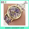Hottest fashion floral print geneva lady watch, elegant gorgeous bracelet lady watch, Fabric ribbon band women watch