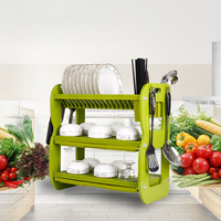 Never Rust Hot Selling Kitchen Accessories Unique Green Plastic Dish Rack