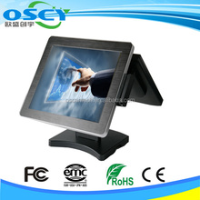 Duel core fanless double screen POS system
