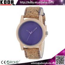 KODA cork wood watch custom made vogue wrist watch lady chronograph clock watch