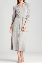 Wholesale luxurious flat knitted pure 100% cashmere bathrobe,cashmere sleepwear