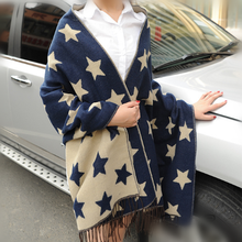2015 winter Cashmere Pashmina thickened fringed fashion blue star lady scarf