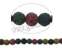 Gets.com Round Multi-colored 14mm Natural Lava Beads