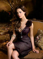HT2240 Elegant sleeveless mother of the bride lace dresses long brown custom made mother of the bride dresses