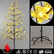 6Ft Warm White Lights With Yellow Blossom Flowers Tree,Outdoor Lighted Christmas Tree