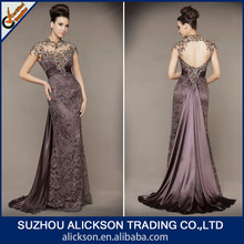 Ali-035 Classic Sheath Column Newly Scoop Collar Taffeta Sweep Train Lace Prom Dress With Appliqued Capped Sleeves 2014