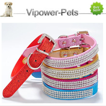 Fashion PU Leather Pet Collar New Diamante Puppy Dog Collars Crystal Rhinestone Cat Collar Necklace
