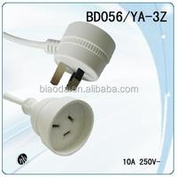 SAA Power cord female socket male plug,male female piggy back