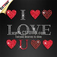 I Love U Red Heart Iron on Transfer Glitter Rhine stone Suppliers