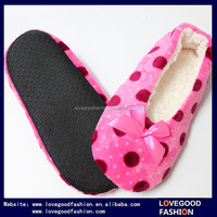 Dot Patterns Flannel Home Indoor Anti-Slip Socks with Bow for Adults