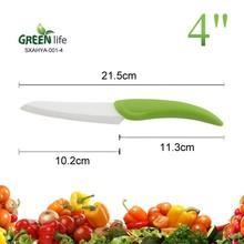 PP hanlde 4inch ceramic utility knife,green handle ceramic knife for Modern Kitchen