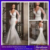 2014 Best Selling Elegant Deep V-neck Appliqued Beading Waistband Keyhole Back Mermaid/Trumpet Modest Long Sleeve Wedding Gowns