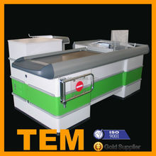 Professional Customzied Supermarket Checkout Counters With Conveyor Belt