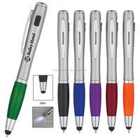 3 In 1 Plastic Flashlight Pen Stylus Ball Pen with light