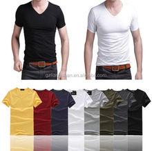 2015 OEM Men's Basic Plain TEE T-Shirt Stylish Mens Slim Fit V-neck/crew neck T-shirt Short Sleeve Muscle Tee
