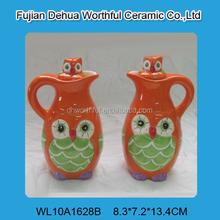 Handmade funny owl design ceramic vinegar and oil bottle,ceramic oil and vinegar set