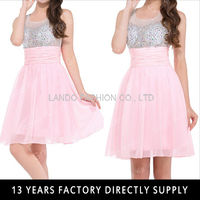 Sleeveless Beaded Short Cocktail Dresses 2015 Pink Cocktail Party Dress CL7508-1
