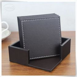 home decor faux leather brown leather coasters for drinks