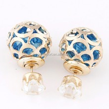 china cheap wholesale Fashion hollow gold ball& bead shining crystal color double Earring