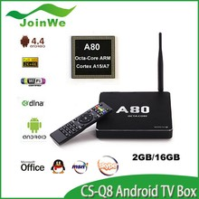 Allwinner A80 Octa Core ARM A15/A7 4G/32G 2.4G/5GHz WiFi 4K*2K H.265 SATA Smart TV Linux Post