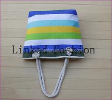 stripe canvas beach tote bag wholesale / red white striped canvas bag