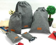 Felt Drawstring Bags, Traveling Packing Bags, Gift Bags Gathering Bags ( Leather Lable Embossed Logo)