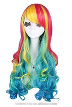 YILU Long Lolita Rainbow Wigs Sexy Ladies Spiral Colorful Hair for Halloween Custom Anime Cosplay Party Wig