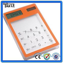 Energy saving touch screen mini digital transparent solar calculator/desktop calculator mini transprent calculator