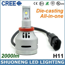 12v 24v 20w 2000lm 6500k H11 All in One Die-casting Car Light, Car Accessories Led Headlight, Led Headlight for Tractor